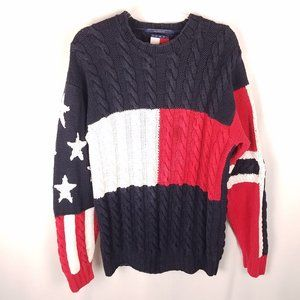 Tommy HIlfiger red/white/blue sweater cable knit M